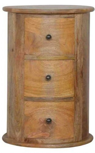 Mango Wood 3 Drawer Slim Drum Chest